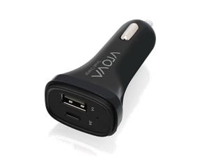 VROVA 2 Port USB-C Car Charger with Smart Charge (3A USB-C, 1A USB-A) - Black