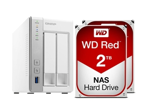 QNAP 2 Bay TS-231P NAS + 4TB (2 x 2TB) WD Red NAS HDD Bundle
