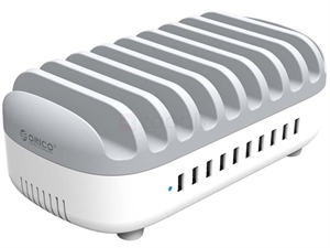 ORICO 120W 10 Ports USB Smart Charging Station with Phone & tablet Stand - White